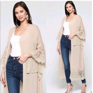 Sweaters - New Gorgeous! Duster Cardi embroidered lace detail
